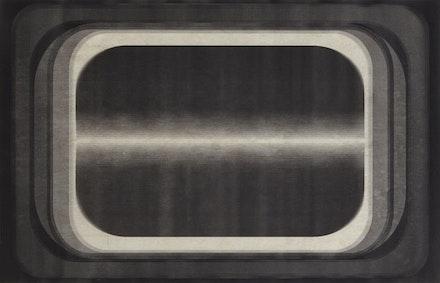 """Marsha Cottrell, """"Aperture Series (15),"""" 2014. Laser toner on paper, unique, 11 3/4 ̋ × 18 1/8 ̋."""