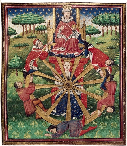 A medieval Wheel of Fortune with a crowned king at the top, from John Lydgate&#146;s <em>Troy Book and Siege of Thebes</em>, England, c. 1457.