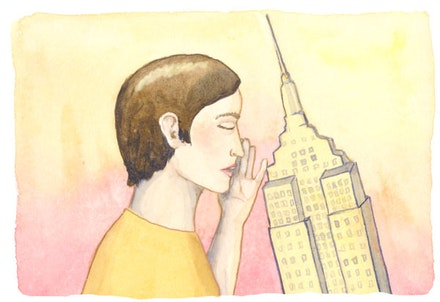 """…she whispers to the Empire State Building…"" Illustration by Megan Piontkowski."