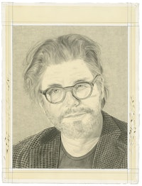 Portrait of Bob Holman. Pencil on paper by Phong Bui.