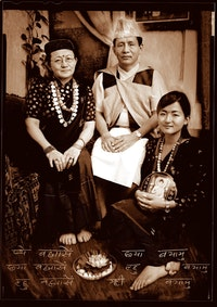 Pictured here is Narayan Gurung and his family in traditional Gurung dress. Narayan is a former Gurkha soldier who has been working with linguistics students at the Endangered Language Alliance to document his language and culture.