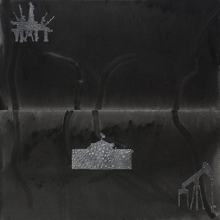 "Stefan Bondell, ""BROKEN LINES"" (2013). Oil and gouache on canvas, 10×10´. From <em>Black Box</em>."