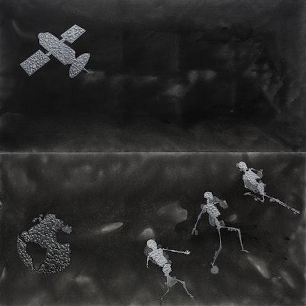 "Stefan Bondell, ""EYE CELL YOU"" (2013). Oil and gouache on canvas, 10×10´. From <em>Black Box</em>."