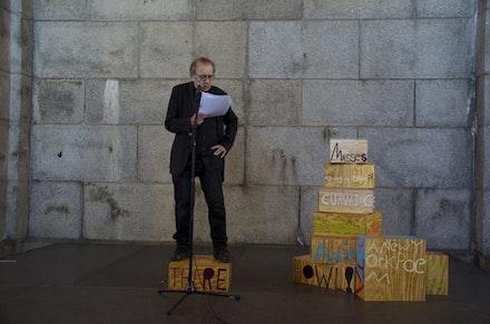 "Sam Jablon, ""Poet Sculpture,"" DUMBO Arts Festival, Vito Acconci, New York, 2013."
