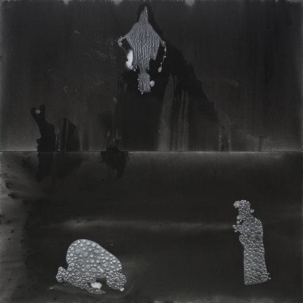 "Stefan Bondell, ""PYRAMID"" (2013). Oil and gouache on canvas, 10×10´. From <em>Black Box</em>."
