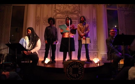 Mahogany Browne, David Acevedo, Judith Santoprieto, Nikhil Melnechuk, and Bob Holman perform the 2015 Poetic Address to the Nation, on Feb. 1 at the Bowery Poetry Club.