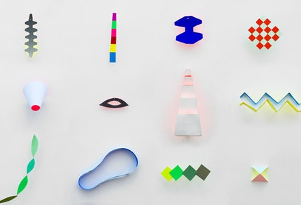 "Joan Grubin, ""Partial Inventory of Totally Useless Things"" (2012). Acrylic on paper, mylar, shadows, dimensions variable."