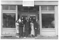 The Videofreex formally posed in front of the Hunter, NY American Legion Post, 1973. Photo: Videofreex.