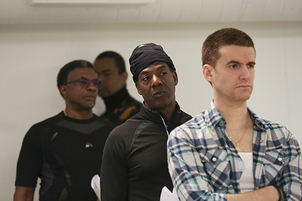 Keith David, Jonathan Earl Peck, John Earl Jelks, and Armando Riesco in rehearsal for ToasT. Photo credit: Tammy Shell