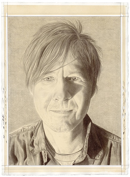 Portrait of the artist. Pencil on paper by Phong Bui. From a photograph by Zack Garlitos.