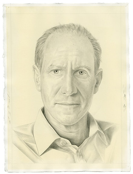 Portrait of Glenn Lowry. Pencil on paper by Phong Bui. From a photo by Zack Garlitos.