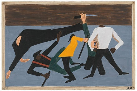 "Jacob Lawrence, ""One of the largest race riots occurred in East St. Louis"" (1941). Casein tempera on hardboard, 18 × 12 ̋. © 2015 The Jacob and Gwendolyn Knight Lawrence Foundation, Seattle / Artists Rights Society (ARS), New York. Digital image © The Museum of Modern Art/Licensed by SCALA / Art Resource, NY."