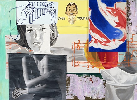 "David Salle, ""Odes and Aires"" (2014). Oil, acrylic, crayon, charcoal, and archival digital print on linen and canvas, 61 × 84 ̋. © David Salle, licensed by VAGA, courtesy Skarstedt, NY."