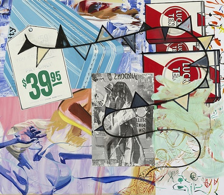 "David Salle, ""Pay Only $39.95"" (2014–2015). Oil, acrylic, crayon archival digital print, and pigment transfer on linen, 84 × 96 ̋. © David Salle, licensed by VAGA, courtesy Skarstedt, NY."