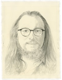 Portrait of Charlie Schultz. Pencil on paper by Phong Bui. From a photograph by Taylor Dafoe.