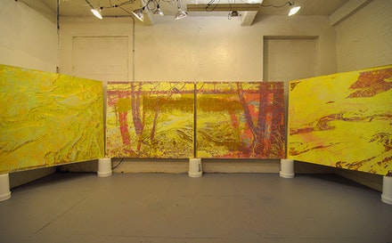 Greg Lindquist, Studio View, April 24, 2014, <em>Duke Energy&#146;s Dan River </em>series, each canvas 78 &times; 68&#733;.