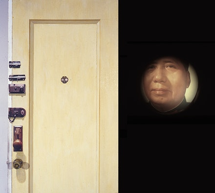 Zhang Hongtu, Front Door, 1995, Mixed media Installation with audiotape, 84˝ × 32˝.