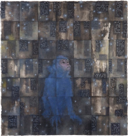 Zhang Hongtu, Little Monkey, 2014, Ink, Oil on rice paper, mounted on panel, 48.5˝ × 46˝.