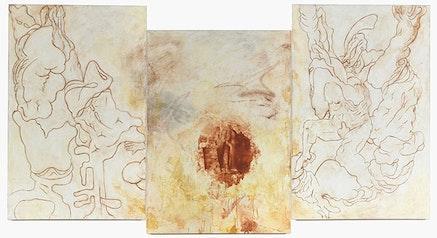 "Bill Jensen, ""TRANSGRESSIONS"" (2011 – 14). Triptych, oil on linen, 551/2 × 105˝. Courtesy of Cheim & Read."