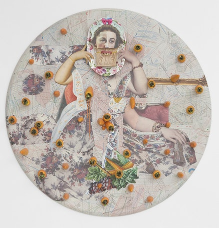 """Ramin Haerizadeh, """"Carrot Cake, Carrot Cake, Do You Have Any Nuts?� (2014). Collage of various plastic ready-mades, paper, cardboard, and carved wood on canvas, 44.88� diameter. Courtesy of Callicoon Fine Arts."""