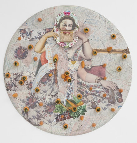 "Ramin Haerizadeh, ""Carrot Cake, Carrot Cake, Do You Have Any Nuts?� (2014). Collage of various plastic ready-mades, paper, cardboard, and carved wood on canvas, 44.88� diameter. Courtesy of Callicoon Fine Arts."
