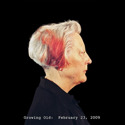 """Martha Wilson, """"Growing Old"""" (2008 – 09). Pigmented ink print on hahnemuhle bamboo paper, 54 × 54 ̋."""