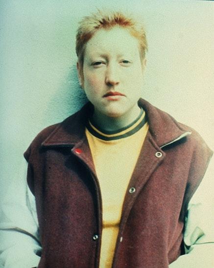 "Martha Wilson, ""Posturing: Male Impersonator (Butch)"" (1973). Color photograph, 9 × 4 1/4 ̋."