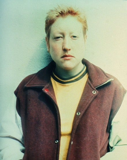 "Martha Wilson, ""Posturing: Male Impersonator (Butch)"" (1973). Color photograph, 9 × 4 1/4 ̋."