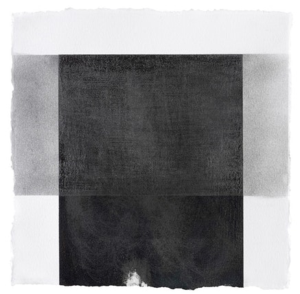 """Abby Leigh, """"ML 07"""" (2014). Peach pit soot, glue and graphite on paper, 10.5 × 10.5 ̋. Courtesy of 315 Gallery and the artist."""