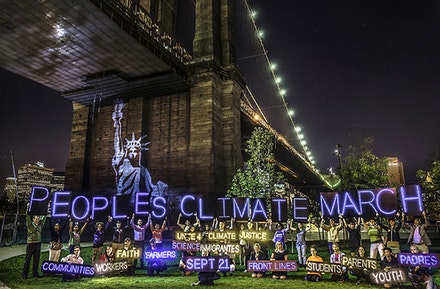 NYC Light Brigade work led by Athena Soules. Photo: Erik McGregor.