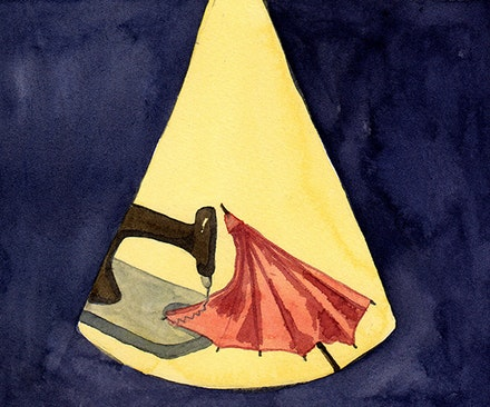 """. . . a sewing machine encounters an umbrella on an operating table."" Illustration by Megan Piontkowski."
