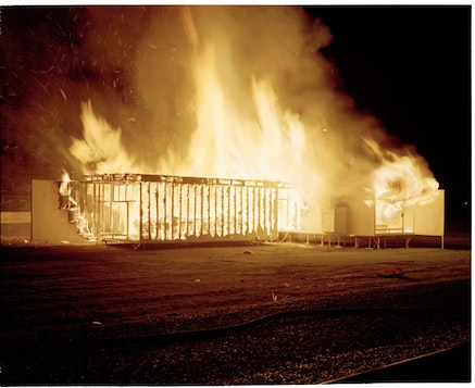 """""""Celebration/Love/Loss"""" (Replica of a Marcel Breuer House burned in Downtown St. Paul MN June 9th 2am 2013). Photo: Andy Mattern."""