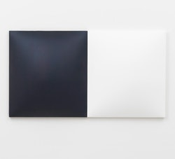 """Dean Levin, """"Untitled (Indigo and White)"""" (2014). Fiberglass reinforced plaster and oil on cotton diptych, each: 22 x 20 x 3 1/2"""". Courtesy of the artist and Marianne Boesky Gallery, New York. Photo: Matt Grubb."""