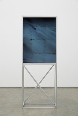 """Dean Levin, """"Autumn"""" (2015). Oil and pigment on canvas in aluminum armature, Cart: 80 x 13 x 31"""" (cart), and 40 x 30"""" (2 paintings). Courtesy of the artist and Marianne Boesky Gallery, New York. Photo: Jason Wyche."""