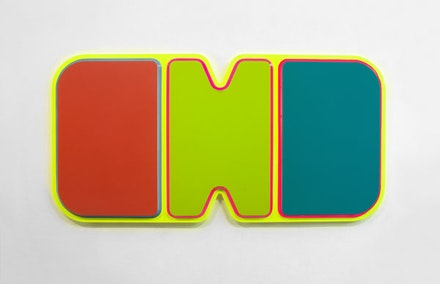 "Beverly Fishman, ""Untitled (Depression)"" (2015). Urethane paint on wood, 39 1/2 × 79 × 2 1/4 ̋."