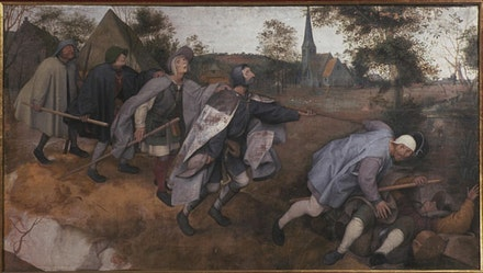 "Pieter Bruegel, ""The Parable of the Blind"" (1568). Tempera on canvas, 85 × 154 cm."