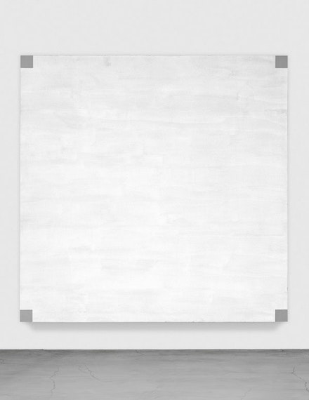 "Mary Corse, ""Untitled (White light, beveled edges)"" (1984). Glass microspheres in acrylic on canvas, 9 × 9 ́. Courtesy of the artist, Ace Gallery, and Lehmann Maupin."
