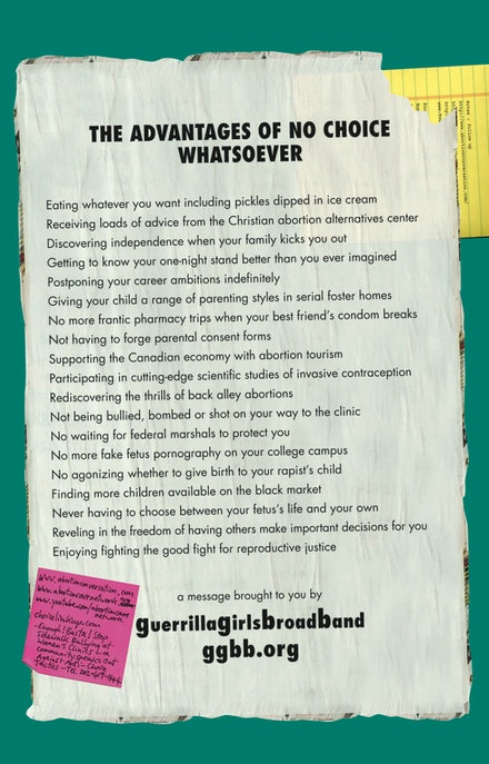 "Guerrilla Girls BroadBand ""The Advantages of No Choice Whatsoever"" (2009 – 10). Courtesy of the artists."