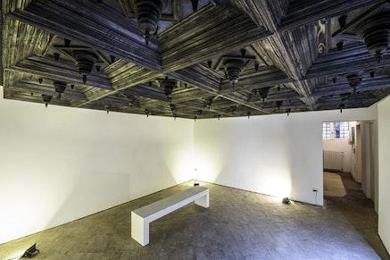 "Aleksandar Duravcevic, ""Room no. 2"" (2015). Charred wood. Courtesy of Centar Savremene Umjetnosti Crne Gore and the artist. Photo by Dusko Miljanic."
