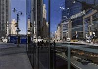 "Richard Estes, ""Columbus Circle Looking North"" (2009). Oil on canvas, 40×56 1/4˝. © Richard Estes. Courtesy of Marlborough Gallery."