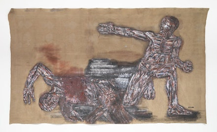 "Leon Golub, ""Napalm I"" (1969). Acrylic on linen, 117 1/4 × 213 ̋. Photo: Christopher Burke. © The Estate of Leon Golub. Courtesy of Hauser & Wirth."