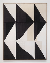 "Brent Wadden, ""Big BW"" (2015). Hand woven fibers, wool, cotton and acrylic on canvas, 107 × 82 ̋. Courtesy of the artist, Peres Projects, and Mitchell-Innes & Nash."