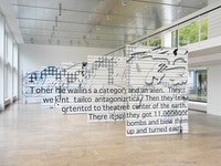 Laura Owens (2015), Installation view. © the artist. Courtesy of Capitain Petzel, Berlin. Photo: Jens Ziehe.