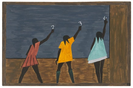 """Jacob Lawrence, The Migration Series (1940 – 41). Panel 58: """"In the North the Negro had better educational facilities."""" Casein tempera on hardboard, 18 × 12 ̋. © 2015 The Jacob and Gwendolyn Knight Lawrence Foundation, Seattle / Artists Rights Society (ARS). Courtesy of the Museum of Modern Art, New York. Gift of Mrs. David M. Levy."""