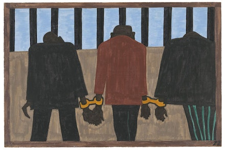 "Jacob Lawrence, The Migration Series (1940 – 41). Panel 22: ""Another of the social causes of the migrants' leaving was that at times they did not feel safe, or it was not the best thing to be found on the streets late at night. They were arrested on the slightest provocation."" Casein tempera on hardboard, 18 × 12 ̋. © 2015 The Jacob and Gwendolyn Knight Lawrence Foundation, Seattle / Artists Rights Society (ARS). Courtesy of the Museum of Modern Art, New York. Gift of Mrs. David M. Levy."