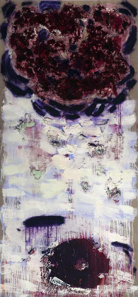 "Joan Snyder, ""Winter Rose"" (2013). Oil, acrylic, paper mache, pastel, and glitter on linen, 64 × 30 ̋."