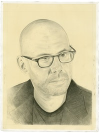 Portrait of Matthew Biro. Pencil on paper by Phong Bui. From a photograph by Sally Bjork.