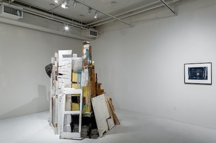 <i>From the Ruins...</i> (2015). Installation shot. (left) Julie Schenkelberg, Hearsay, 2013; assorted materials,  89 x 58 x 92