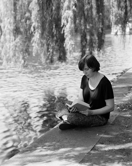 "Arthut Ou, <em>Annette Kelm reading 3.001: ""A state of affairs is thinkable"": what this means is that we can picture it to ourselves.</em>, 2014. Selenium-toned gelatin print, 7 x 9 in."