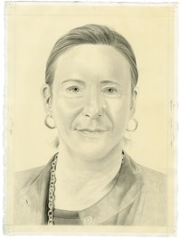 Portrait of Maura Reilly. Pencil on paper by Phong Bui.
